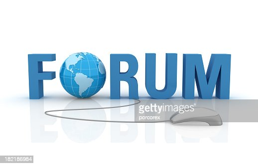 3D Word Forum with Earth Globe and Computer Mouse