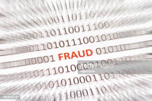 Word Fraud embedded in binary code : Stock Photo