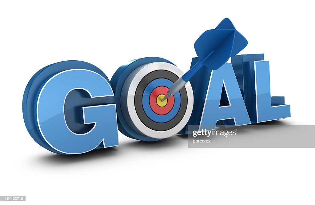 3D Word GOAL with Target and Dart : Stock Photo