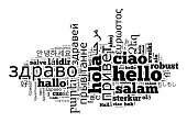 Word Hello in different languages word cloud concept over white background