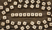 Word KINDNESS written on wood block,stock image