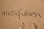high-angle shot of the word mindfulness written in the sand of a beach and a pair of human footprints