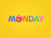 Creative composition of doughnut and colorful letters arranged on orange background.