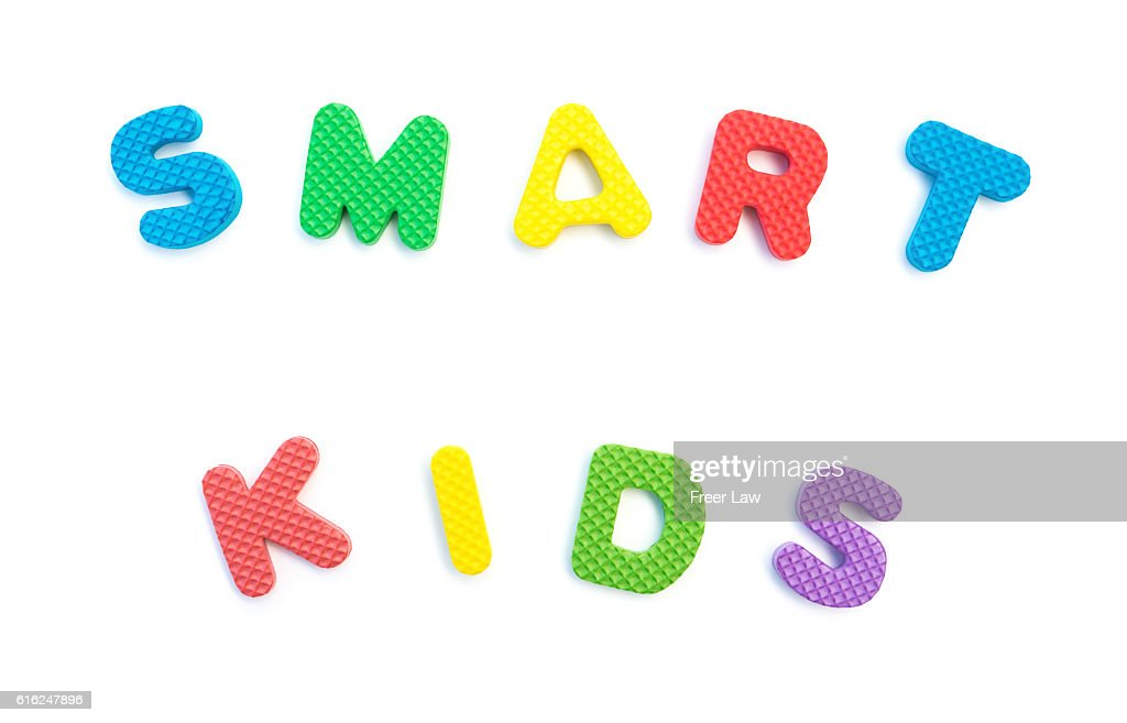 word of smart kids shaped by alphabet puzzles on white : Stock-Foto