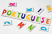 word Portuguese made of colorful letters on white background