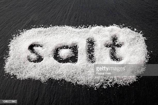 word salt spelled in salt,close up