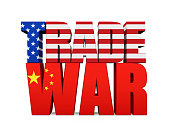 Word 'TRADE WAR' with United States and Chinese Flag isolated on white background. Trade war Concept 3D render