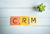 CRM word with paper note on white wood table backgrounds