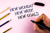 Word writing text New Monday New Week New Goals. Business concept for next week resolutions To do list Goals Targets written by Man plain background holding Marker Pencils next to it.