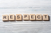 RESPECT word written on wood block ta wooden background.