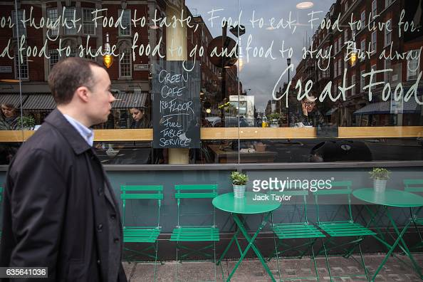 Words are written on the window of a delicatessen and cafe in Marylebone on February 16 2017 in London England The Association for Licensed Multiple...