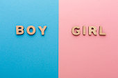 Words Boy and Girl on bright backgrounds. Unknown baby gender, uncertainty and doubt concept