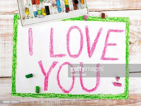 Palavras Eu Te Amo Escrito Em Lápis De Desenho No Papel Foto De
