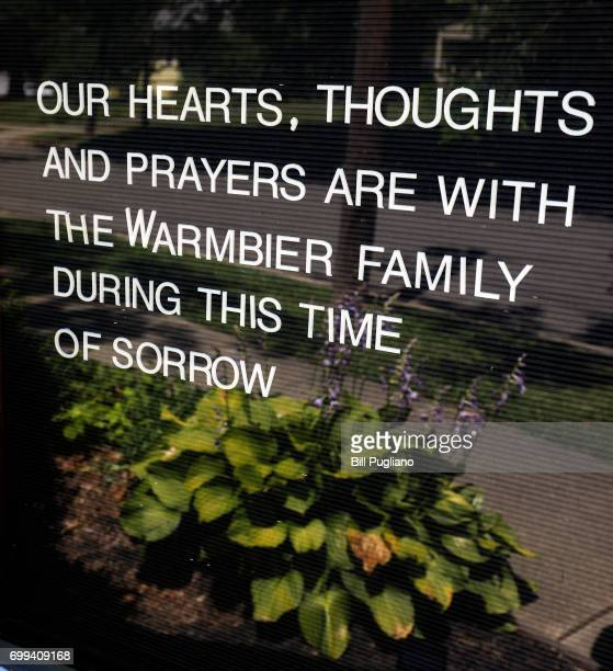 Words of sympathy for the family of Otto Warmbier are shown in front of Wyoming Baptist Church as the town of Wyoming Ohio prepares for his funeral...