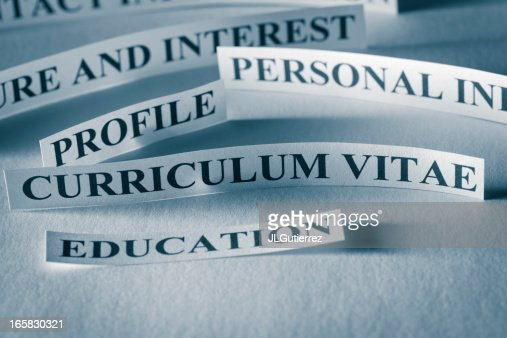Words on paper relating to curriculum vitae