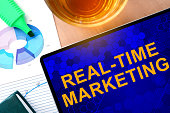 Words Real-Time Marketing on the tablet and charts. Business concept.