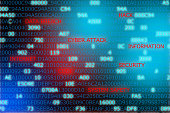 Words technology security code computer attack highlighted in against computer code background