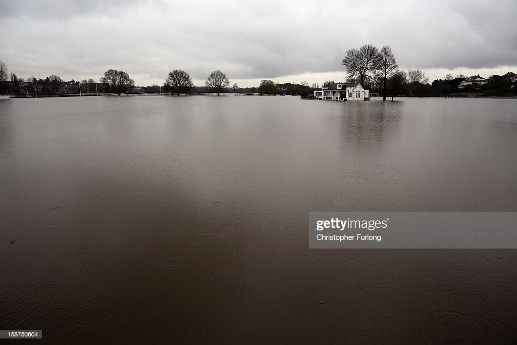 Worecestershire County Cricket Club lays under flood water on December 27, 2012 in Worcester, England. 2012 could be the UK's wettest year on record according to forecasters and there are currently 88 flood warnings and 207 flood alerts in England and Wales. The Environment Agency in Hereford and Worcestershire are expecting further heavy rain, delaying a clean up until after the weekend.