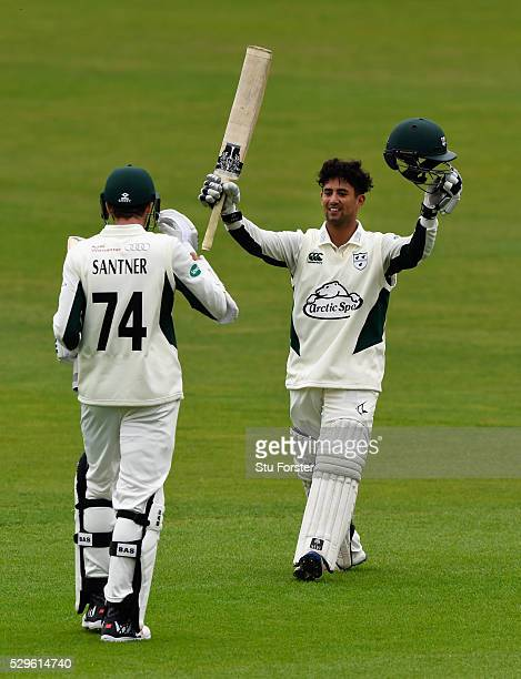 Worecstershire batsman Brett D'Oliveira celebrates after reaching his 200 during day two of the Specsavers County Championship Division Two match...