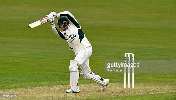 Worecstershire batsman Joe Clarke hits out during day two of the Specsavers County Championship Division Two match between Glamorgan and...