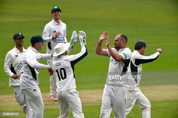 Worecstershire bowler Joe Leach celebrates after dismissing Will Bragg first ball during day two of the Specsavers County Championship Division Two...