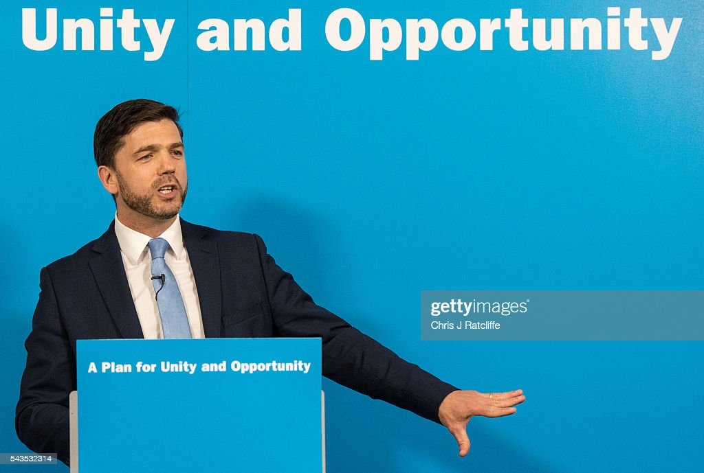 Work and Pensions Minister <a gi-track='captionPersonalityLinkClicked' href=/galleries/search?phrase=Stephen+Crabb&family=editorial&specificpeople=13218086 ng-click='$event.stopPropagation()'>Stephen Crabb</a> announces his running for the Conservative Party leadership at a press conference on June 29, 2016 in London, England. Nominations in the Tory Party leadership race open today with MP Boris Johnson, Home Secretary Theresa May and Work and Pensions Minster <a gi-track='captionPersonalityLinkClicked' href=/galleries/search?phrase=Stephen+Crabb&family=editorial&specificpeople=13218086 ng-click='$event.stopPropagation()'>Stephen Crabb</a> expected to declare by midday on Thursday. The new leader will move straight into Downing Street by 9 September.