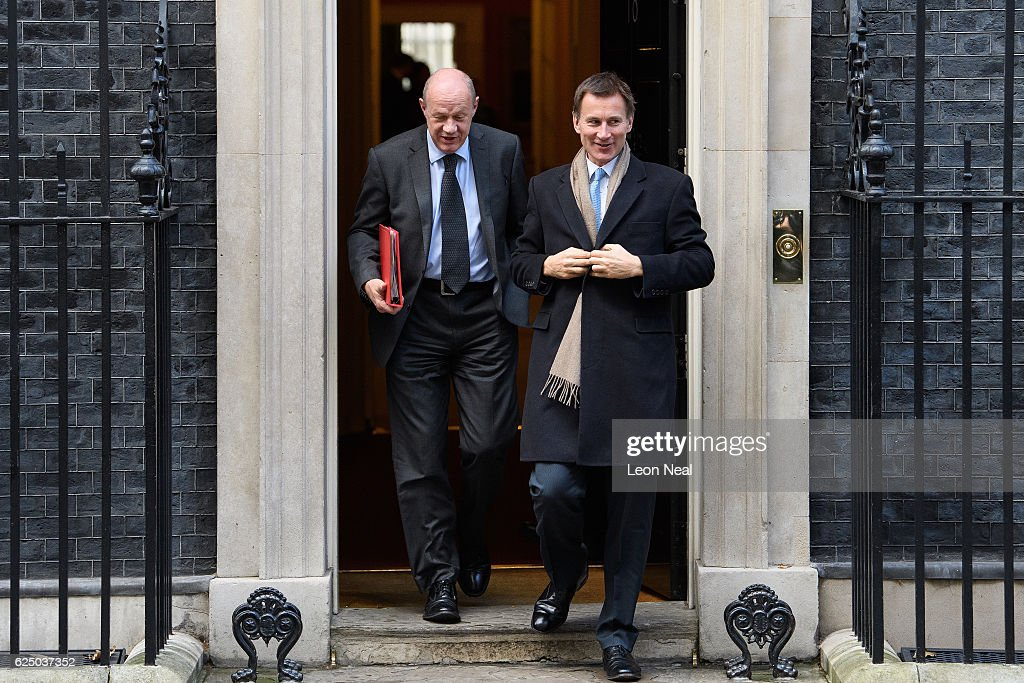 Work and Pensions Secretary Damian Green (L) and Health Secretary Jeremy Hunt leave following a Social Reform meeting at 10 Downing Street on November 22, 2016 in London, England. Ministers For Health, Transport, Business, Justice, Work and Pensions and the Home Office met for a Social Welfare Meeting this morning. The health and social care regulator, the Care Quality Commission, has recently warned of a social care system close to tipping point. A&E units are struggling to cope as elderly people are being admitted to hospital as they can't access adult social care packages that would keep them at home.