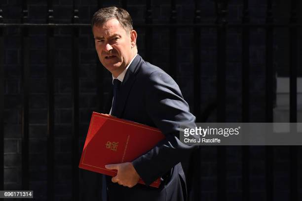 Work and Pensions Secretary David Gauke arrives at 10 Downing Street on June 15 2017 in London England Prime Minister Theresa May is due to hold a...