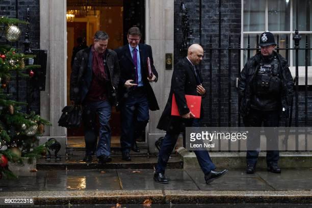 Work and Pensions Secretary David Gauke Business Secretary Greg Clark and Communities Secretary Sajid Javid leave Downing Street following a cabinet...