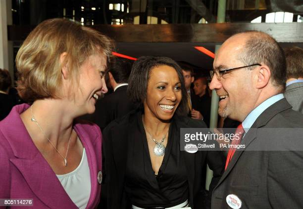 Work and Pensions Secretary Yvette Cooper Dame Kelly Holmes and Minister of State for Schools and Learners Jim Knight at the launch of 'Backing Young...