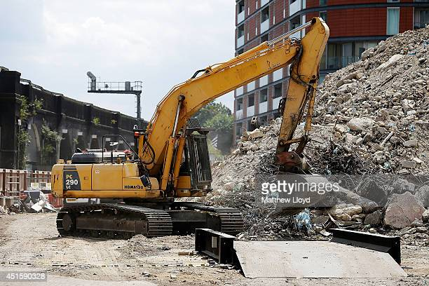 Work begins on demolishing the iconic 1980s building Marco Polo House to make way for new flats shops and offices on July 1 2014 in London England...