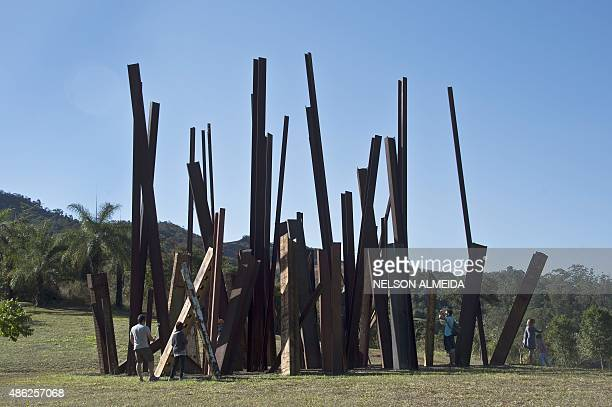 A work by US artist Chris Burden is displayed at the Inhotim Centre for Contemporary Art in Brumadinho some 60 km from Belo Horizonte southeastern...