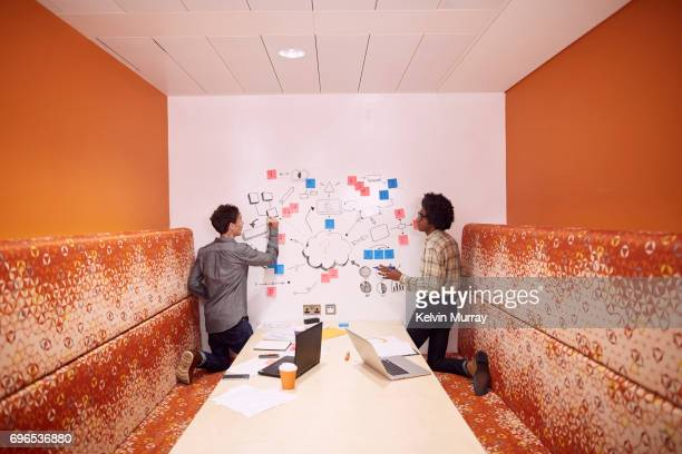 Work colleagues brainstorming in creative office