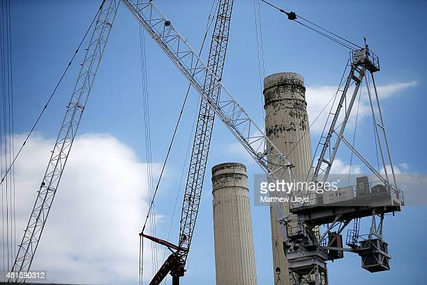 Work commences on the iconic Battersea Power Station converting the industrial building into luxury apartments on July 1 2014 in London England...
