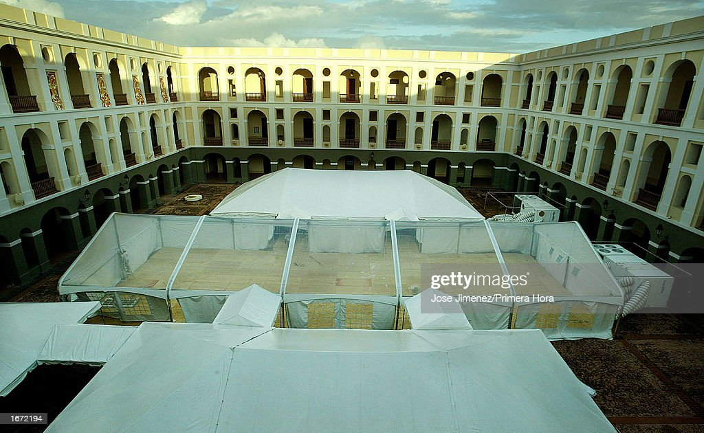 Work continues at the Ballaja Military Barracks in where Marc Anthony's catholic wedding reception will be held December 4, 2002 in Old San Juan, Puerto Rico. Anthony will be married December 7,2002.