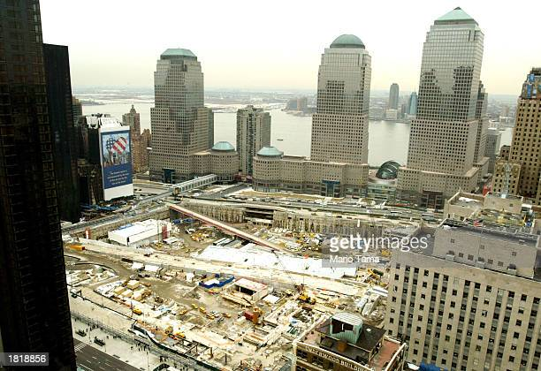 Work continues at the former World Trade Center site February 27 2003 in New York City Architect Daniel Libeskind's design for rebuilding on the area...