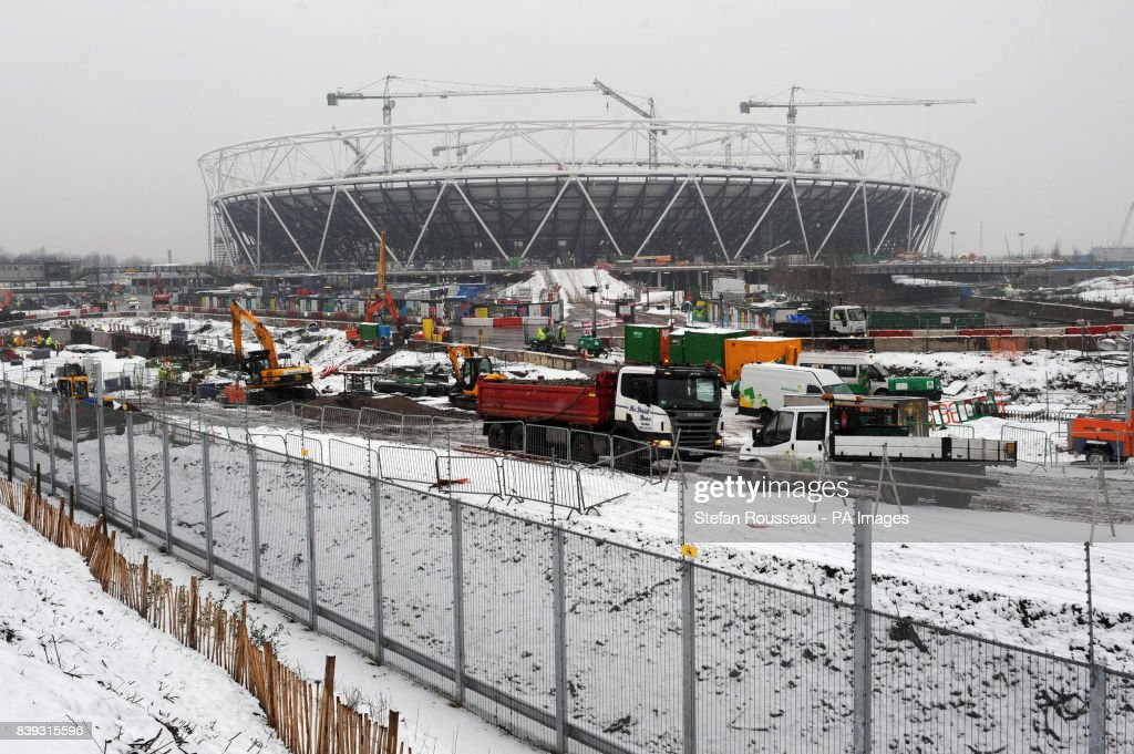 Work Continues At The Olympic Park In Stratford East London Today Despite A Heavy Fall