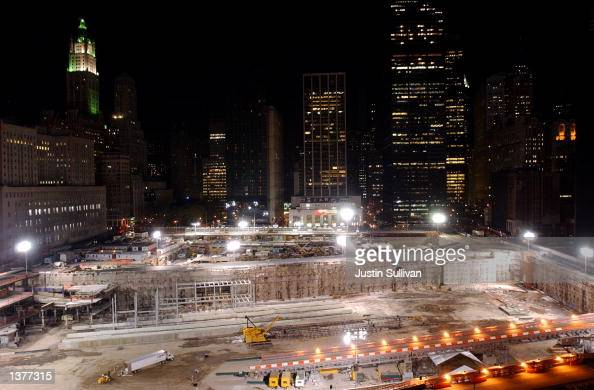 Work continues into the night at Ground Zero September 10 2002 in New York City Workers are preparing the site for the anniversary memorial of the...