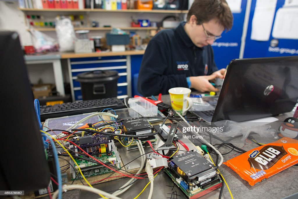Work continues on electrical components for the Bloodhound SSC vehicle currently taking shape at its design centre in Avonmouth on March 5 2015 in...