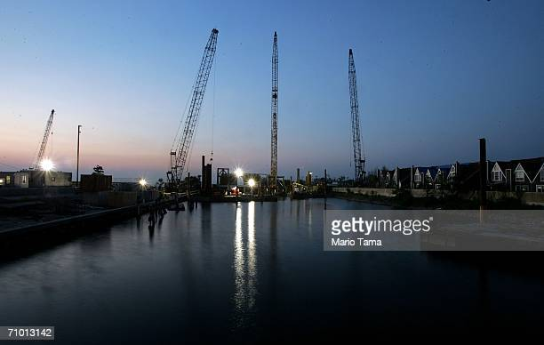 Work continues on on the 17th Street Canal levee May 22 2006 in New Orleans Louisiana An independent report released today concluded that the city's...
