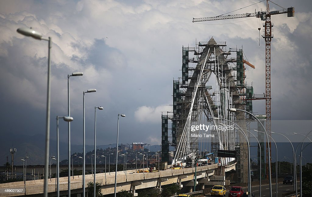 Work continues on the TransCarioca BRT bridge, which crosses Guanabara Bay, on May 9, 2014 in Rio de Janeiro, Brazil. The TransCarioca is part of the larger BRT system being constructed which will link Rio's international airport with Barra da Tijuca, the main site of the Rio 2016 Olympic Games. The city is moving ahead on a number of infrastructure projects ahead of the 2014 FIFA World Cup and Rio 2016 Olympic Games. A section of the Transcarioca network will be inaugurated June 1.