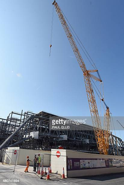 Work is carried out on the construction of the roof truss that will be lifted into position later this month on the new main stand at Liverpool's...