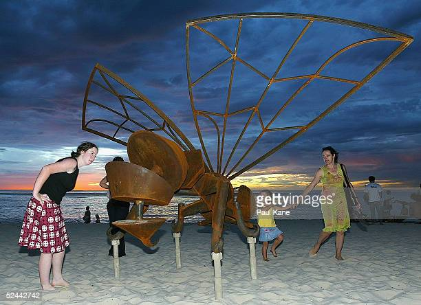 Work of art 'Bee Complex' by Benedict Juniper of Western Australia on display during the Sculpture By The Sea exhibition at Cottesloe Beach on March...