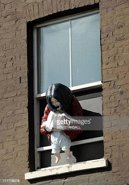 A work of art entitled 'Madonna and Child' which represents Michael Jackson dangling his baby son out of a window by Swedishborn artist Maria von...