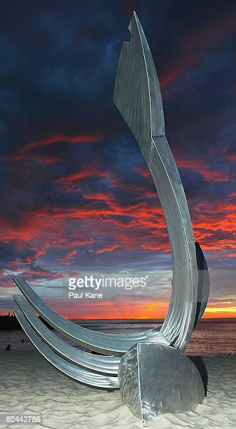 Work of art 'Spirit of the Albatross' by Ron Gomboc of Western Australia on display during the Sculpture By The Sea exhibition at Cottesloe Beach on...