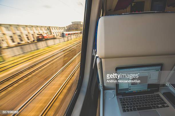 Work place with view through a train window Intercity train on 7 May Lithuania