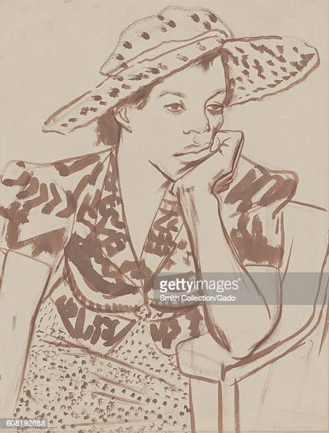 Work progress administration painting of AfricanAmerican woman seated with hat in studio appearing bored with her head resting on her hand 1939 From...