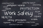 Work Safety concept word cloud on chalkboard