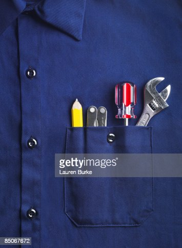 Work Shirt with Tools in Pocket
