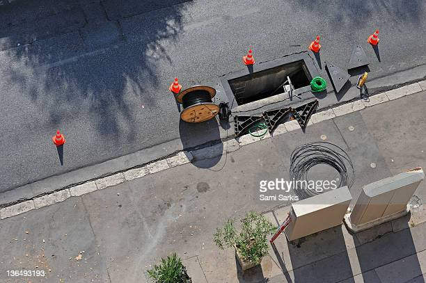 Work site and open hole in the street